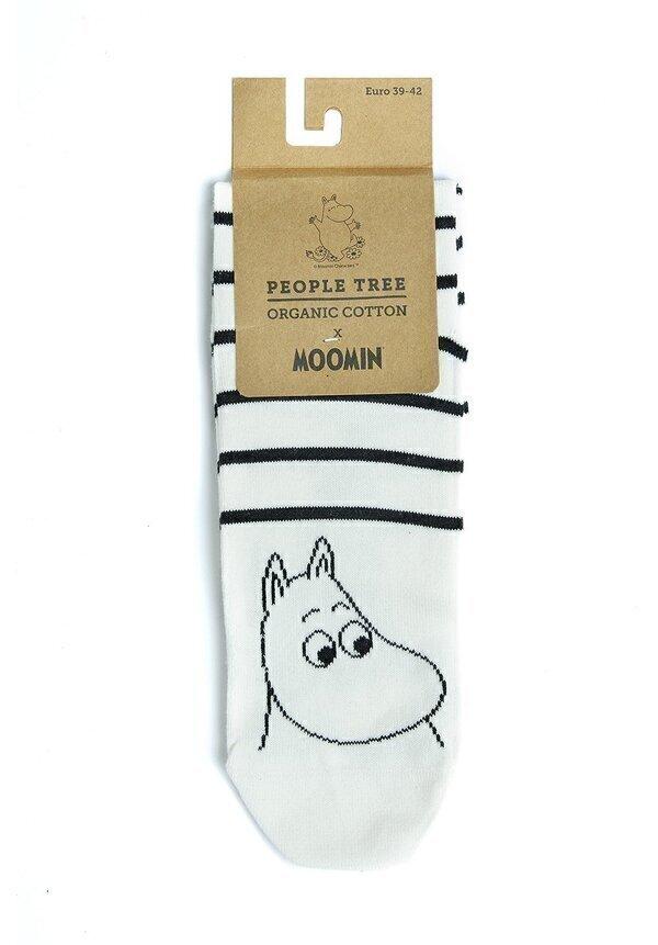 People Tree - Chaussettes imprimées noires et écru - Moomin P39-42