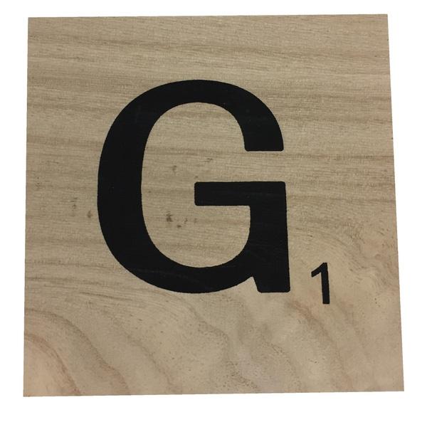 Zôdio - Lettre G scrabble en bois 10x10x0,6cm