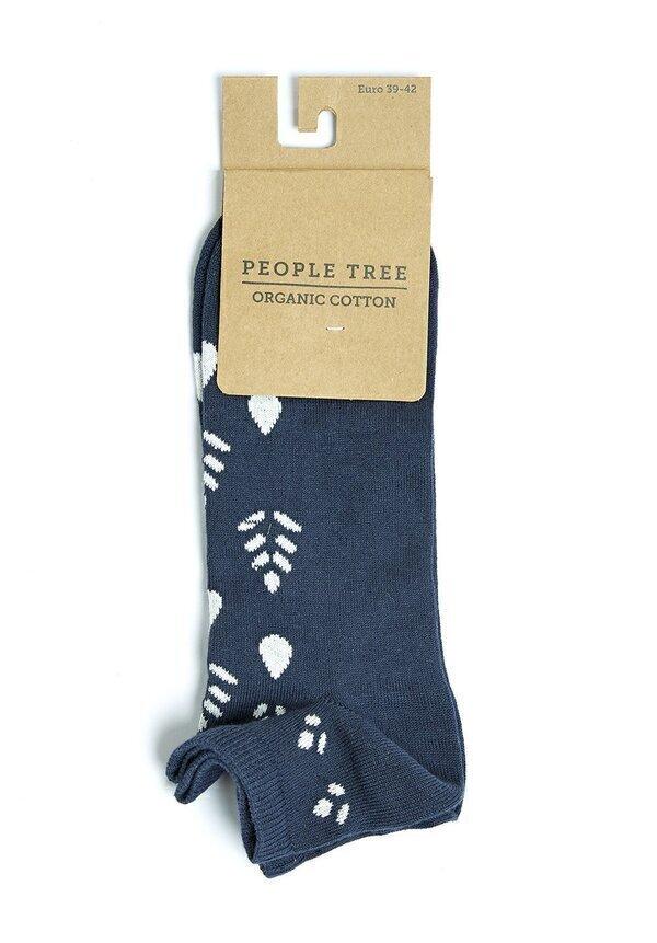 People Tree - Chaussettes de sport imprimées bleu marine et écru P39-42