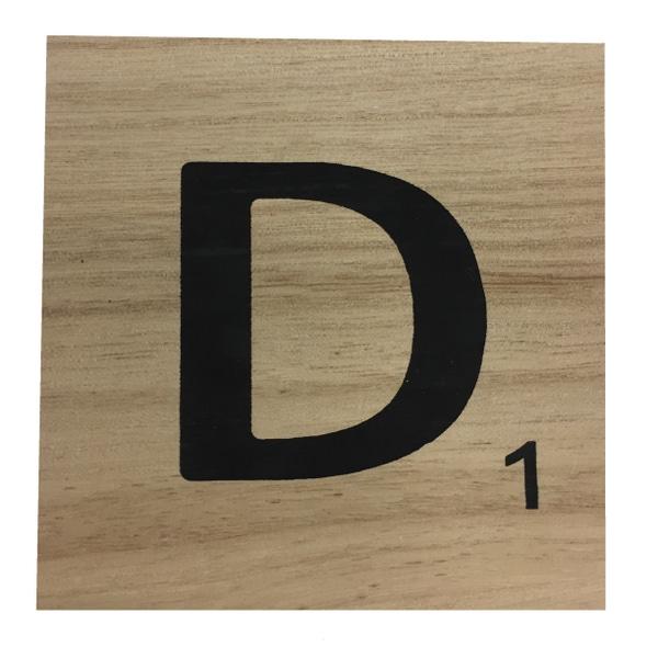 Zôdio - Lettre D scrabble en bois 10x10x0,6cm