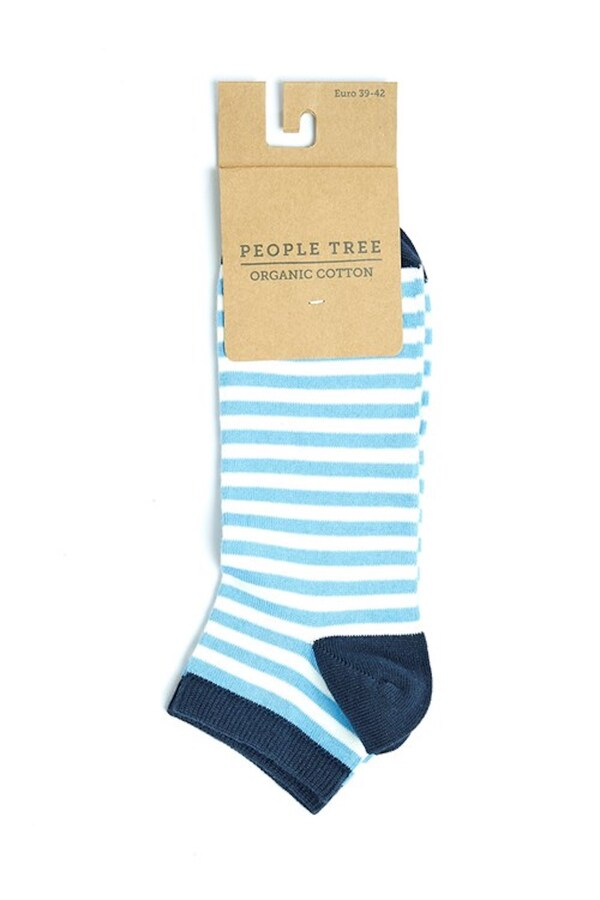 People Tree - Chaussettes courtes rayures bleues P39-42