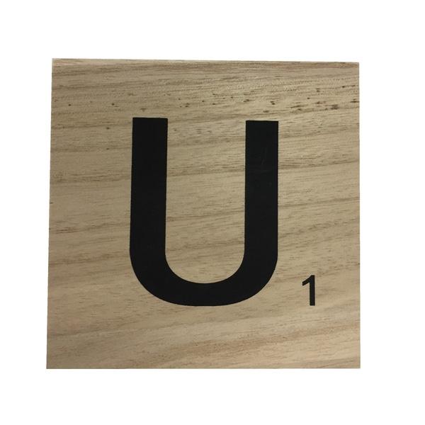 Zôdio - Lettre U scrabble en bois 10x10x0,6cm