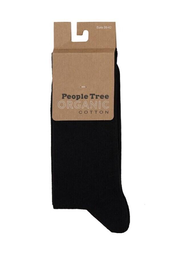 People Tree - Chaussettes unies noires en coton biologique P35-38