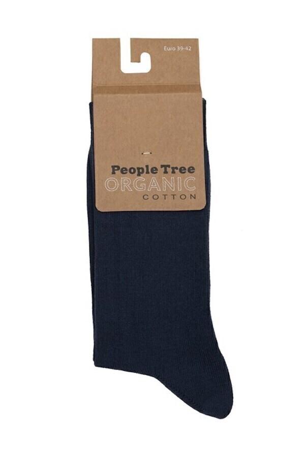 People Tree - Chaussettes unies Bleu-marine en coton biologique P35-38