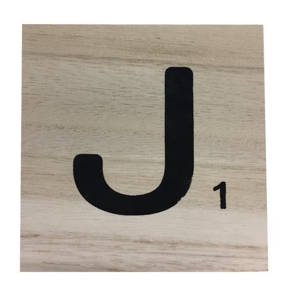 Zôdio - Lettre J scrabble en bois 10x10x0,6cm