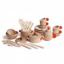 Erzi - Set de vaisselle naturel 36 pcs