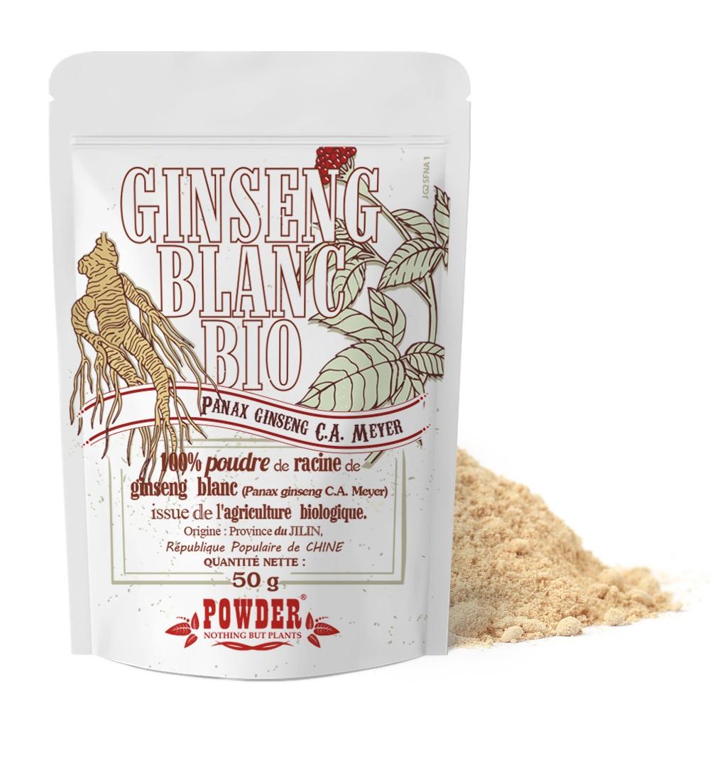 Powder - GINSENG BLANC BIO EN POUDRE * 50g * Source d'énergie et vitalité