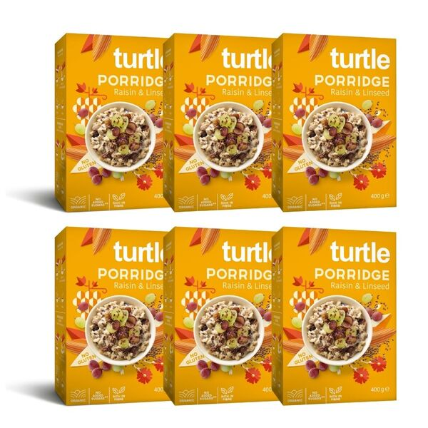 Turtle - 6 x Porridge Bio Raisin et Graines de Lin
