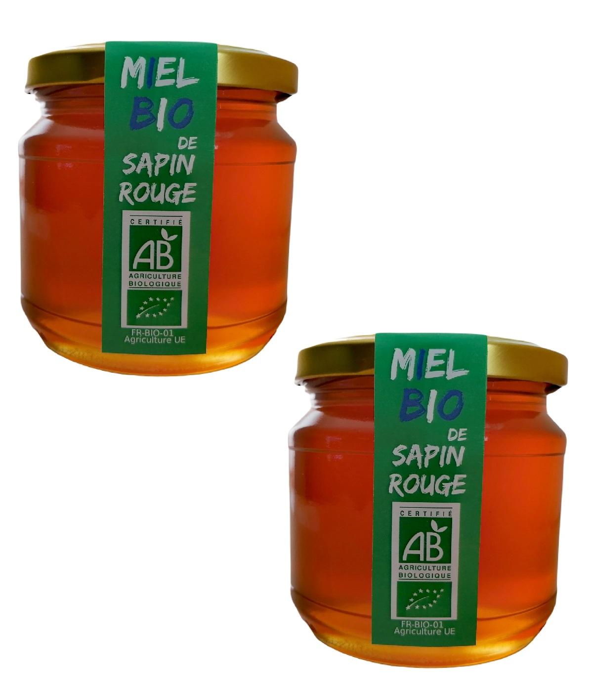 LE MONOPATI - 2 Pièces Miel Bio de Sapin Rouge 0,5kg/pièce