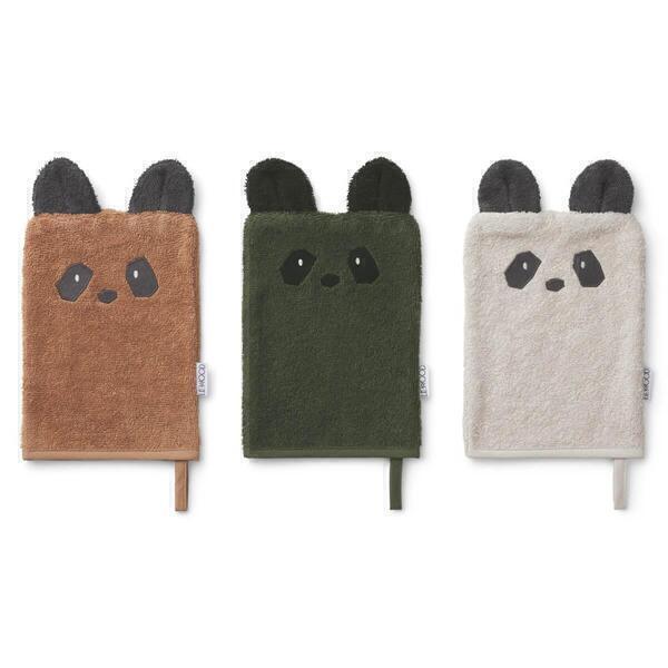 Liewood - 3 gants de toilette SYLVESTER Panda mix