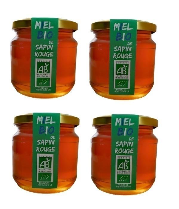 LE MONOPATI - 4 Pièces Miel Bio de Sapin Rouge 0,5kg/pièce
