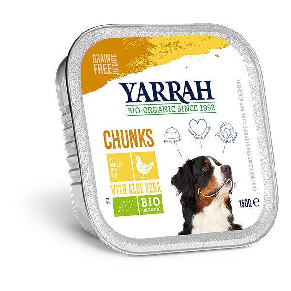 Yarrah - Bouchées pour chien bio barquette Poulet et Aloe vera 150g