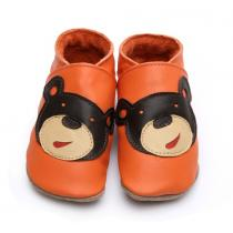 Starchild - Chaussons Cuir Bébé Ourson Orange