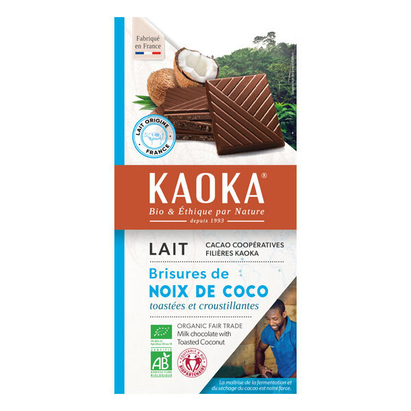 Kaoka - Tablette chocolat lait 32% Noix de Coco 100g