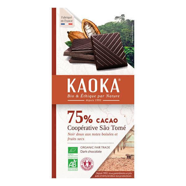Kaoka - Tablette chocolat noir 75% Sao Tomé 100g