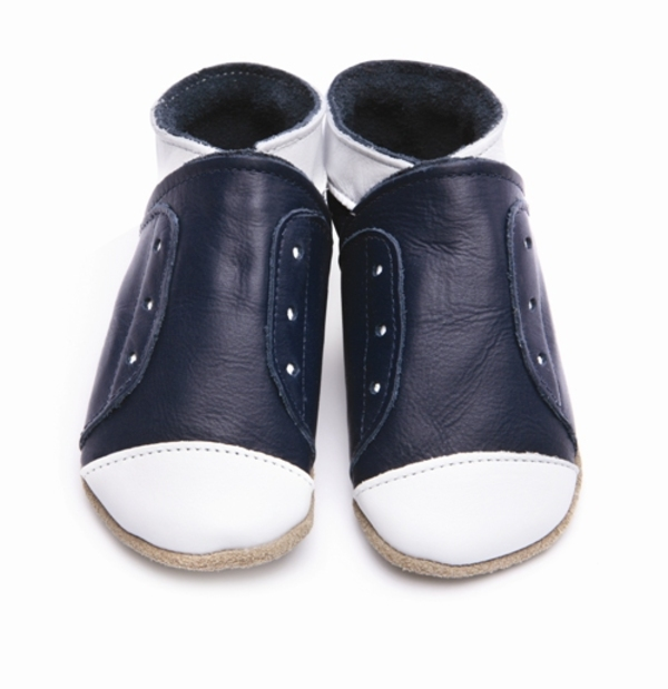 chaussons cuir b b bleu marine blanc starchild acheter. Black Bedroom Furniture Sets. Home Design Ideas