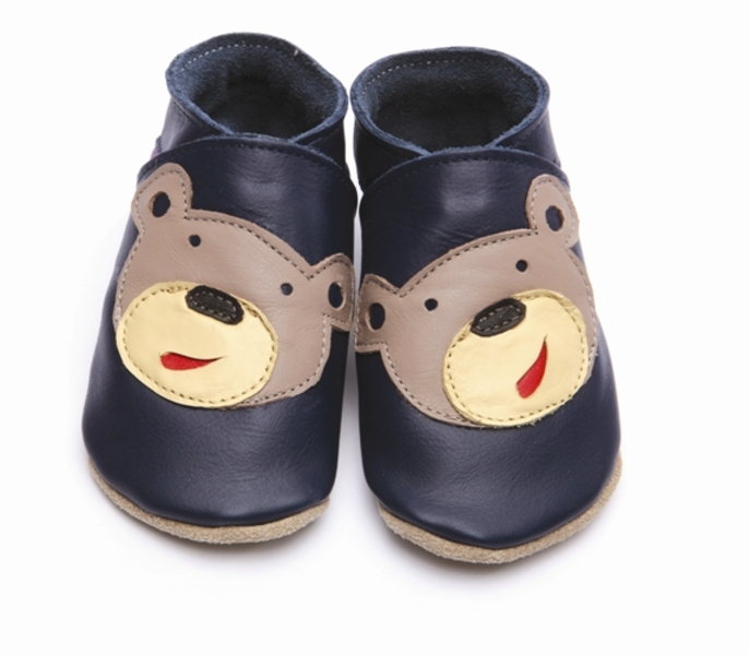 chaussons cuir b b ourson marine starchild. Black Bedroom Furniture Sets. Home Design Ideas