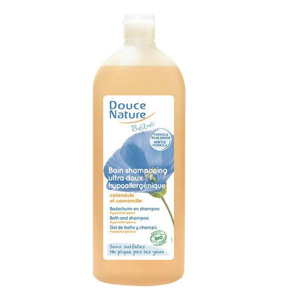 Douce Nature - Bain shampooing bébé hypoallergénique sans sulfate 1L