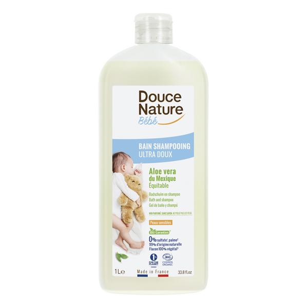 Douce Nature - Bain shampooing bébé ultra doux à l'Aloe Vera 1L