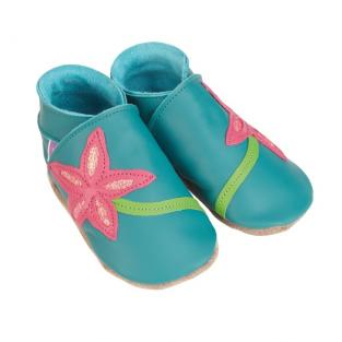 Starchild - Chaussons Cuir Turquoise Fleur Rose