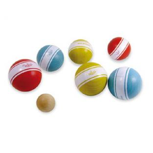 Vilac - Bag of 6 Traditional Striped Petanque Balls