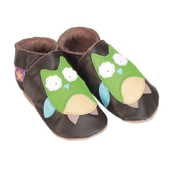 Starchild - Chaussons Cuir Chocolat Hibou