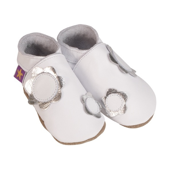 Starchild - Pantofole in cuoio Starchild Petals in White and Silver