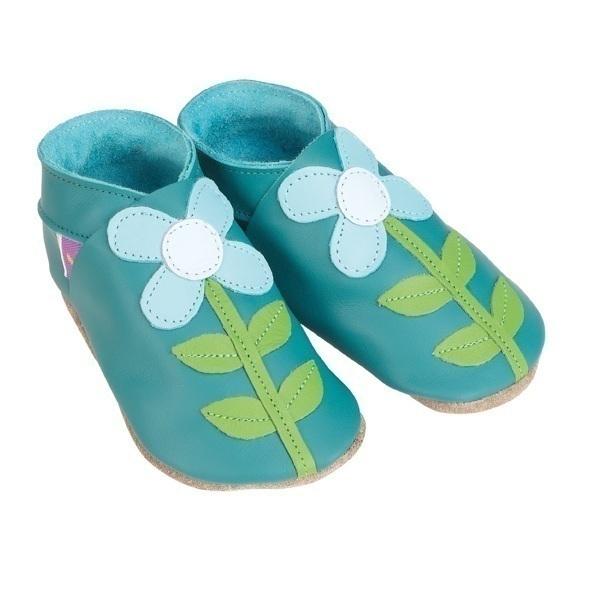 Starchild - Chaussons Cuir Turquoise Fleur