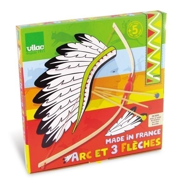 Vilac - Arco desmontable + 3 flechas en madera con ventosa