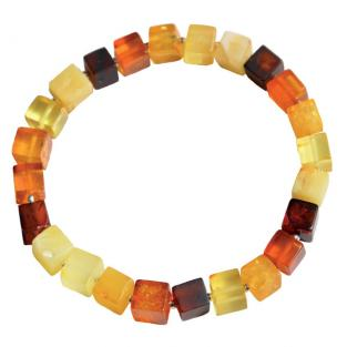 BalticWay - Adult Mixed Amber & Silver Cube Bracelet