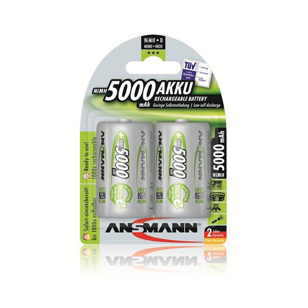 Ansmann - 2 Batterien LR20 - 5000mAh Wiederaufladbar