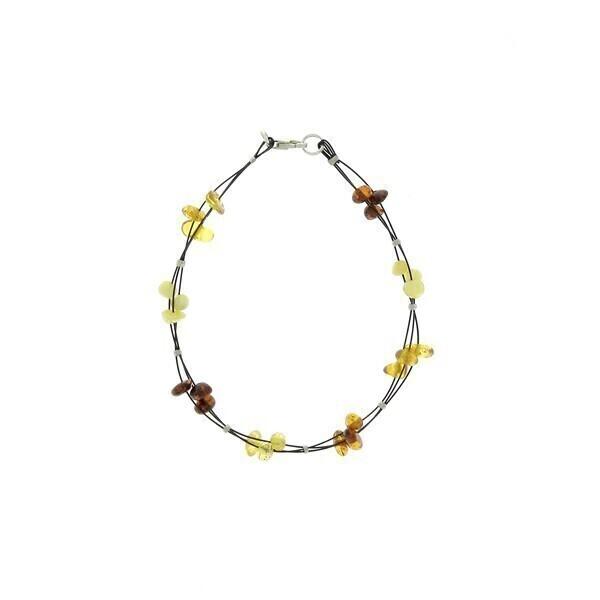 BalticWay - Bracciale d Ambra con Triplo filo di metallo - Mix