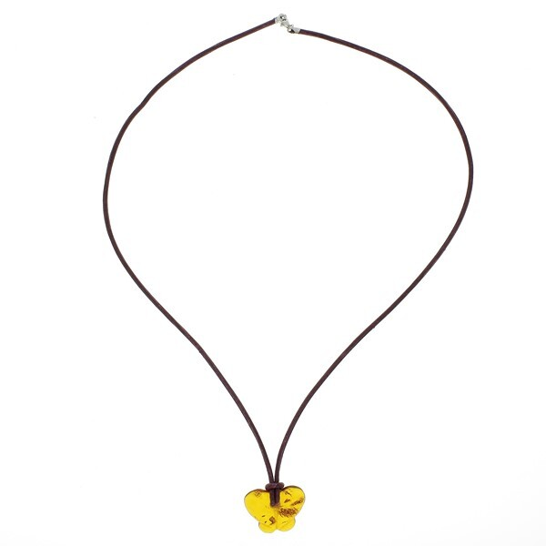 BalticWay - Adult Cognac Amber Butterfly Necklace
