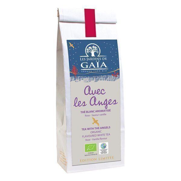 Les jardins de Gaïa - Thé blanc Avec les anges Vanille pétales de fleurs 50g