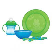 Nuby - Set repas: assiette, bol, gobelet, 2 cuillères, coloris bleu