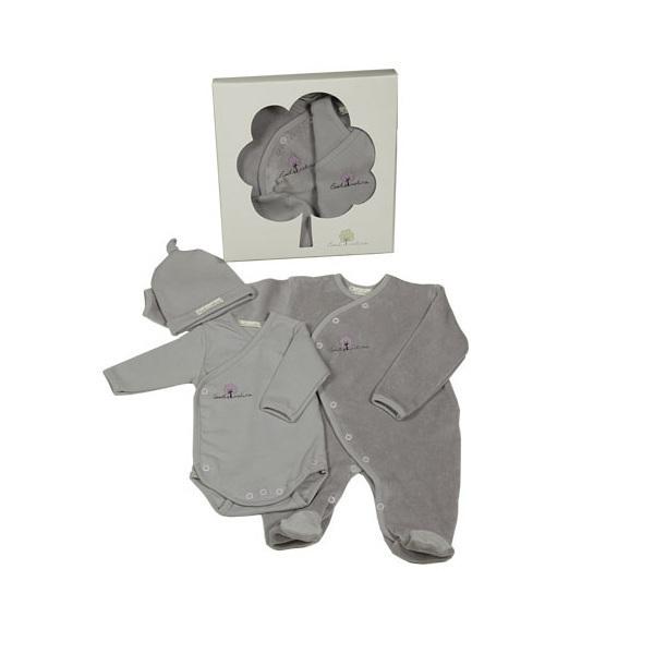 Eveil & Nature - Set Pyjama Body Bonnet Coton bio - 5 coloris au choix