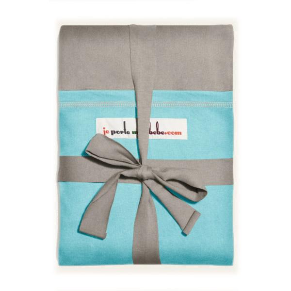 Love Radius - Echarpe de portage modèle gris clair poche turquoise