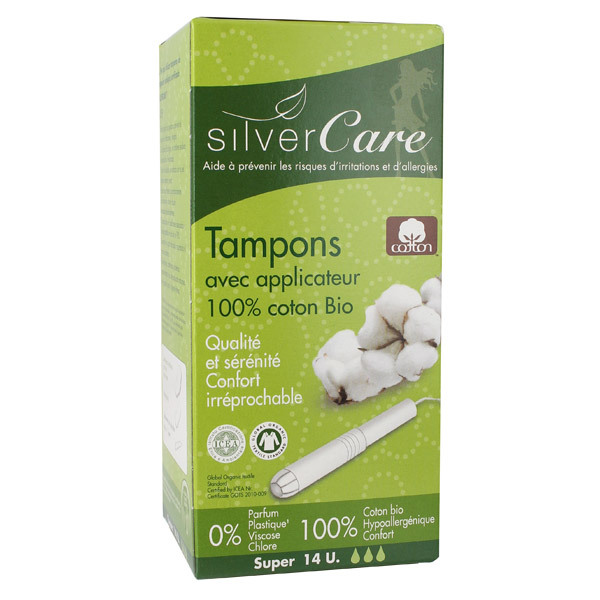 14 tampons coton bio super silver care acheter sur. Black Bedroom Furniture Sets. Home Design Ideas