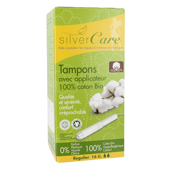 16 tampons coton bio normal silver care acheter sur. Black Bedroom Furniture Sets. Home Design Ideas