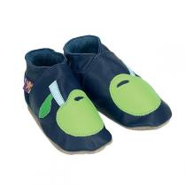 Starchild - Apple Leather Baby Shoes - Navy Blue/Green