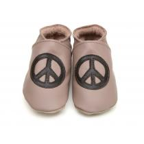 Starchild - Babyschuhe aus Leder - Peace and Love - taupe