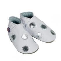 Starchild - Babyschuhe aus Leder - Polka - weiß & silber