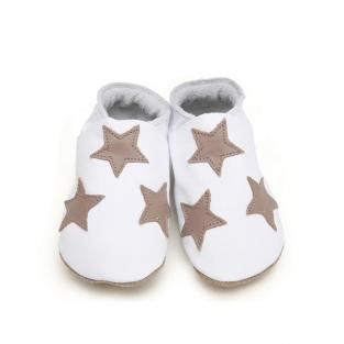 Starchild - Chaussons Cuir Etoiles Blanc et Taupe