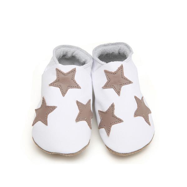 Starchild - Chaussons Cuir Etoiles Blanc et Taupe