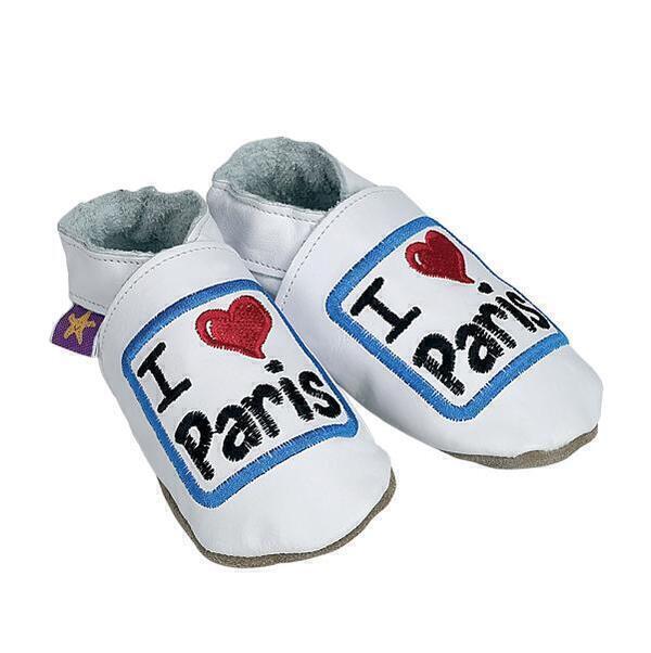 Starchild - Chaussons Cuir I love Paris Blancs