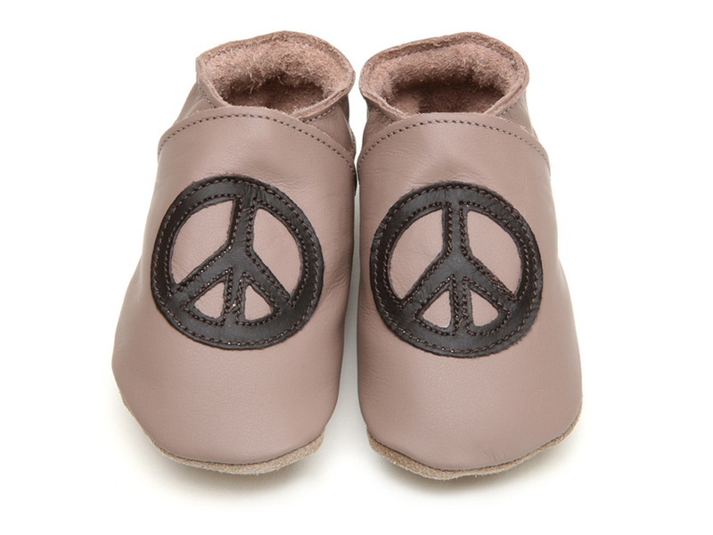 Starchild - Chaussons Cuir Peace and love Taupe