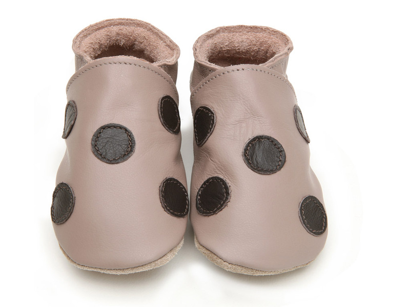 Taupe chocolate polka dot leather baby shoes starchild shop online at Sdb chocolat taupe