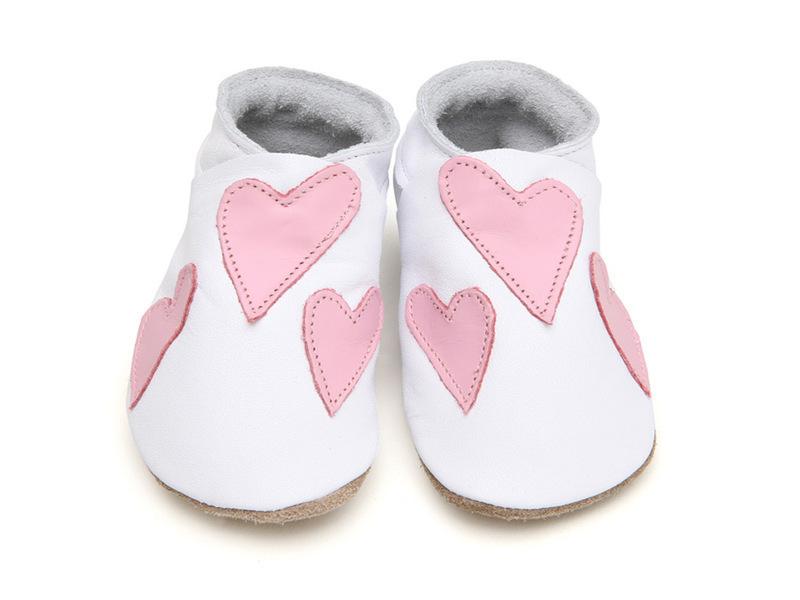 Starchild - Chaussons Cuir Queenie Baby blanc et rose