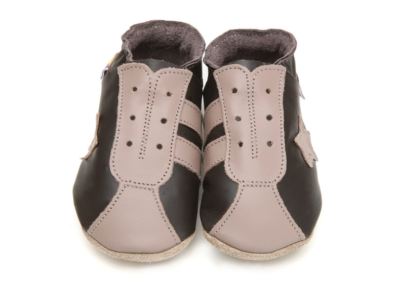 Starchild - Chaussons Cuir Retro Taupe Chocolat