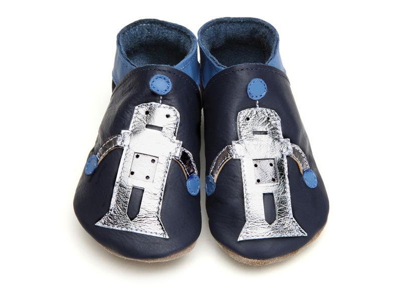 Starchild - Babyschuhe aus Leder - Roboter - marineblau